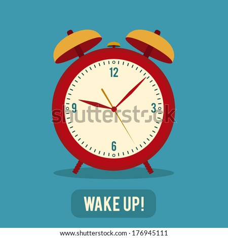 red alarm clock colorful flat style vector illustration - stock vector