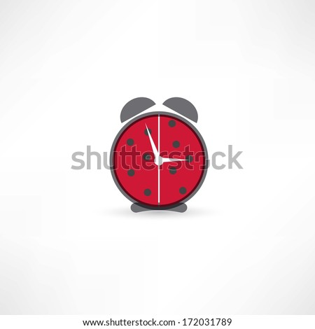 red alarm clock icon - stock vector