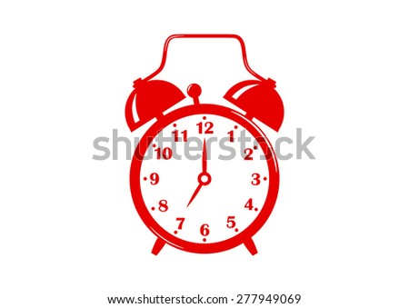 Red alarm clock icon on white background - stock vector