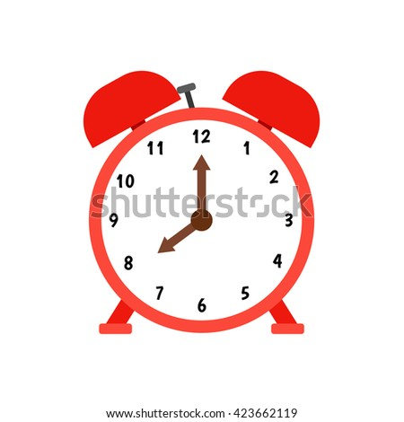 Red alarm clock with dial and brown clockwise