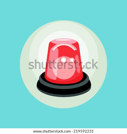 red alarm flat design vector icon - stock vector