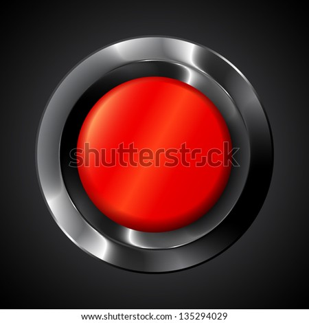 Red alert vector button on black background - stock vector