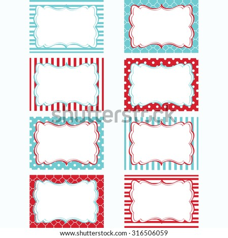 Red and Aqua Printable Labels Set.Tags,Photo Frame, Gift Tags, Scrapbooking,Card Making,Invitation. - stock vector