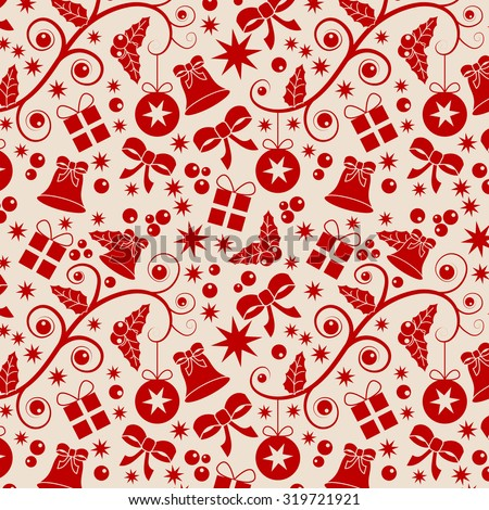 Red and beige Christmas seamless pattern with baubles, stars, parcels, bells, holly and ribbons - stock vector