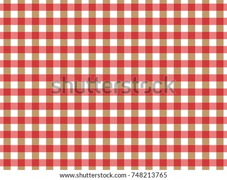 Red and Beige Gingham pattern. Textured Seamless Tablecloth