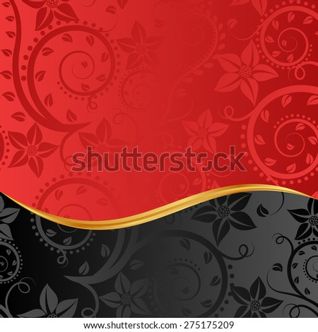 red and black background with floral ornaments - stock vector