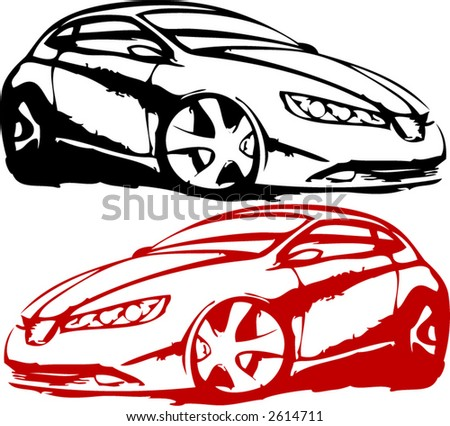 Red and black cars - stock vector