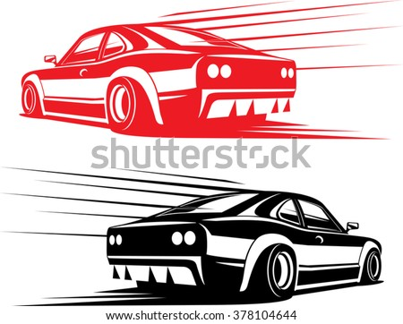 Red Black Fast Sport Car Silhouettes Stock Vector