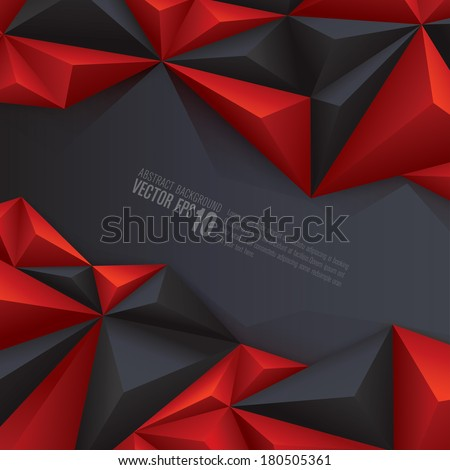 Red and black geometrical background for cover design , poster , brochure , banner , magazine cover and card design.  - stock vector