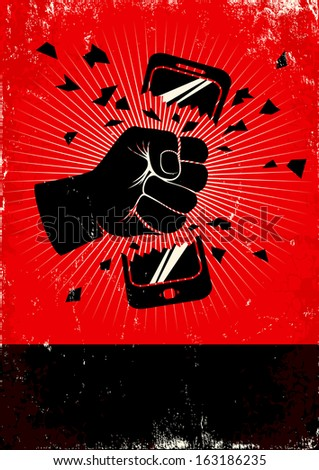 Red and black poster of broken phone - stock vector