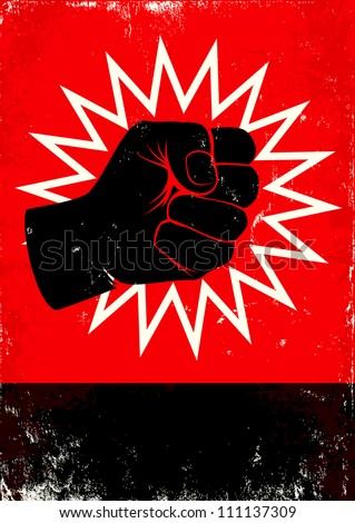 Red and black poster with fist - stock vector