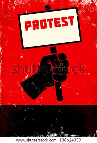 Red and black poster with fist and placard - stock vector