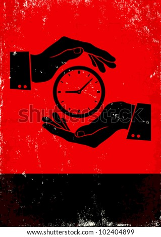 Red and black poster with hands and clock