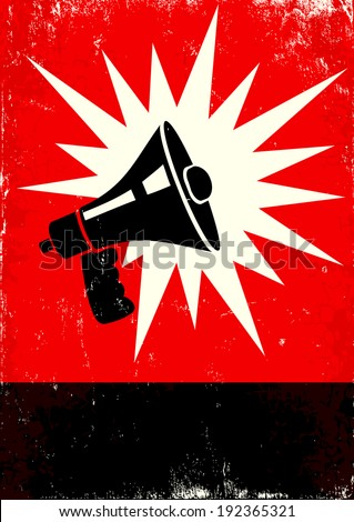 Red and black poster with megaphone - stock vector