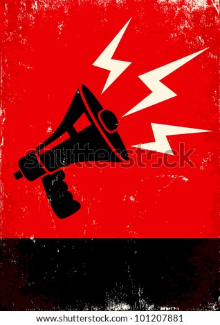 Red and black poster with megaphone and lightning - stock vector