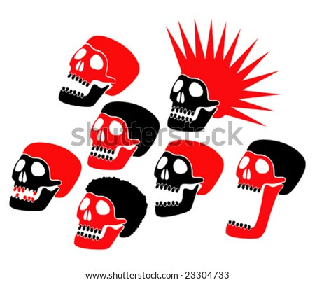 red and black sculls - stock vector