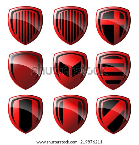 Red and black shield design. Vector  - stock vector