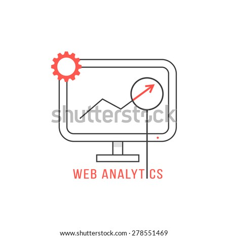 red and black web analytics icon. concept of analyze, control, workspace, success, support, navigation, commerce. isolated on white background. flat style trend modern logo design vector illustration - stock vector