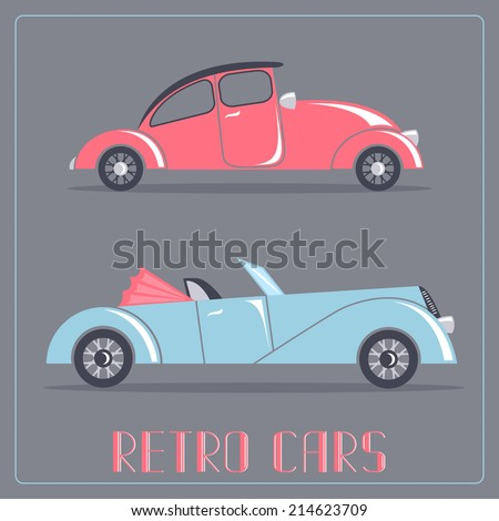 Red and blue cars. Retro transportation - stock vector