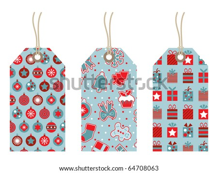 red and blue christmas tags with patterns isolated on white - stock vector