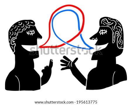 red and blue dialog - stock vector