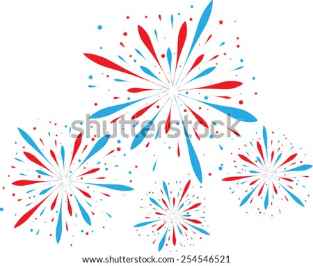Red and blue firework isolated on white. eps10