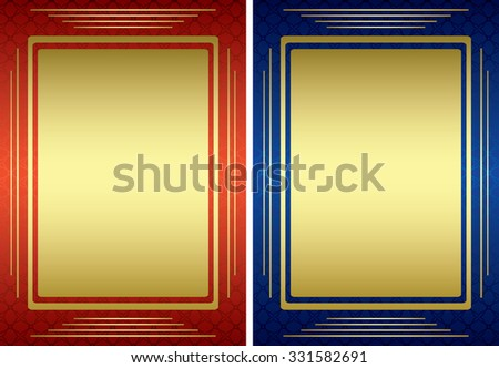 red and blue frames with golden decor - vector - stock vector