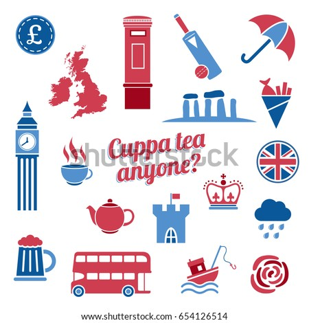red blue great britain icon vector stock vector royalty free