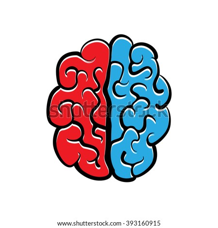Red and blue halves of the vector human brain. - stock vector