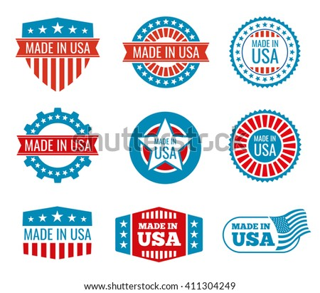 Red and blue made in the USA emblems set. Guarantee made in usa, shield made in usa, national label made in usa. Vector illustration - stock vector