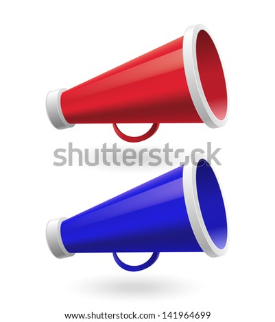 Red and Blue Megaphone isolated on white background - stock vector