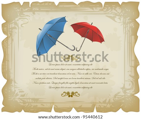 Red and blue open umbrellas on vintage sheet
