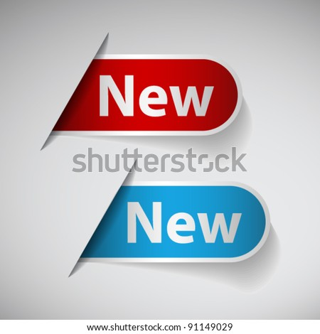 Red and blue ribbon with word new - stock vector