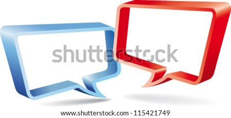 Red and blue speaking labels - stock vector