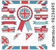 red and blue stitched ribbon decorations with union jack motifs, isolated on white - stock vector