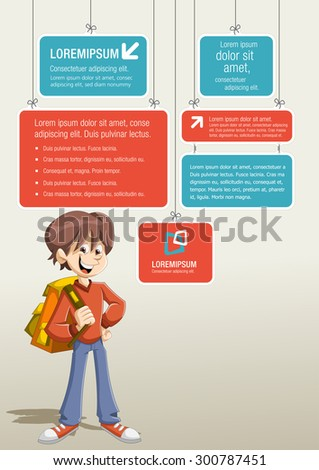 Red and blue template for advertising brochure with cartoon young student boy with backpack.  - stock vector
