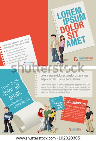 Red and blue template for advertising brochure with teenager students - stock vector