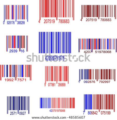 red and blue upc symbol set - stock vector
