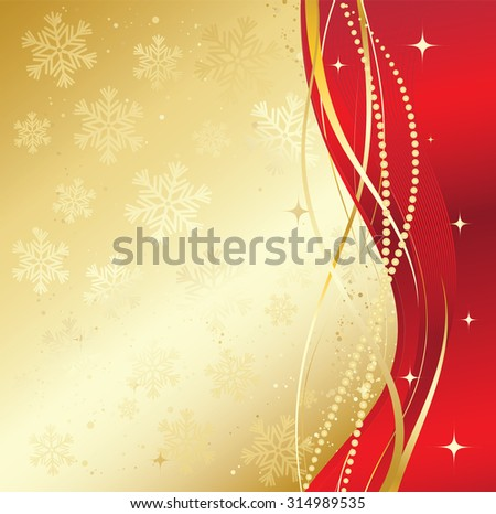 Red and gold abstract background. Christmas background with  snowflakes  - stock vector