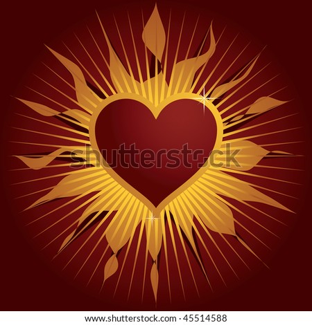red and gold background with love heart
