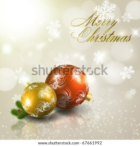 Red and gold christmas balls on light grey background. Vector eps10 illustration - stock vector