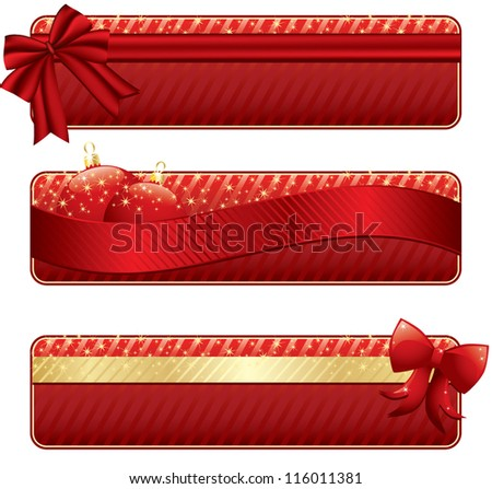 red and gold christmas banners, isolated on white - stock vector