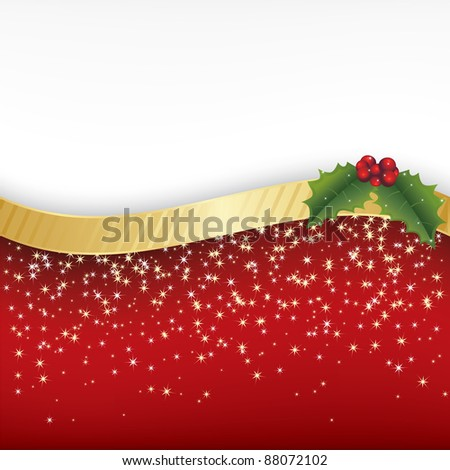 red and gold christmas decoration with holly and space for text - stock vector