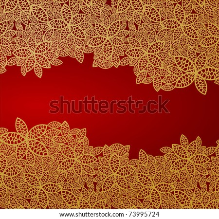 Red and gold floral vector background - stock vector