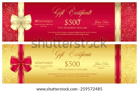 Red and gold gift certificate with borders composed from glitters - stock vector