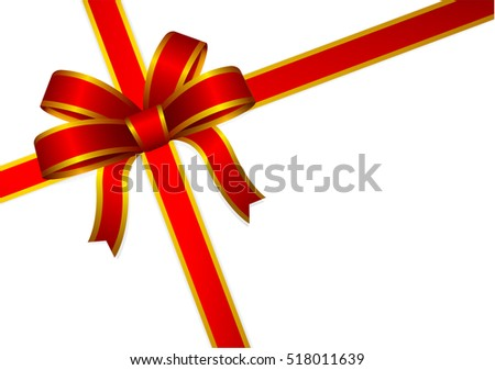 Red and gold gift ribbon and bow for Greeting card of Christmas, New year and Valentine, Vector illustration