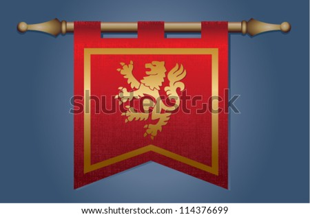 Red and gold medieval banner flag with cloth texture and symbol of a dragon - stock vector