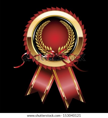 Red and gold rosette with laurel wreath - stock vector
