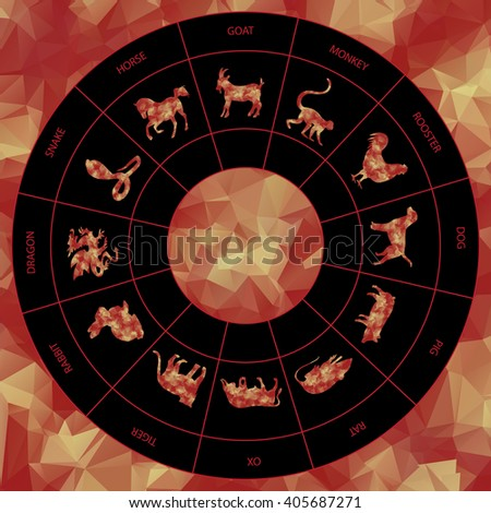 Red and Gold Round Polygon Chinese zodiac signs icons set.