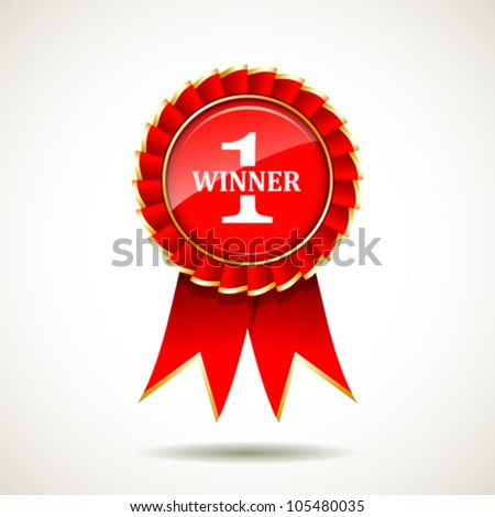 Red and gold the winner ribbon award on background, vector illustration - stock vector